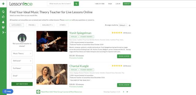 LessonFace Aprende lecciones de música en línea