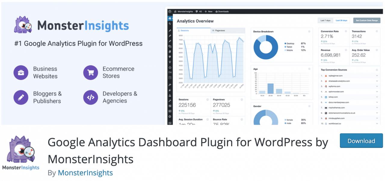 Complemento de panel de Google Analytics para WordPress de MonsterInsights en el directorio oficial de WordPress