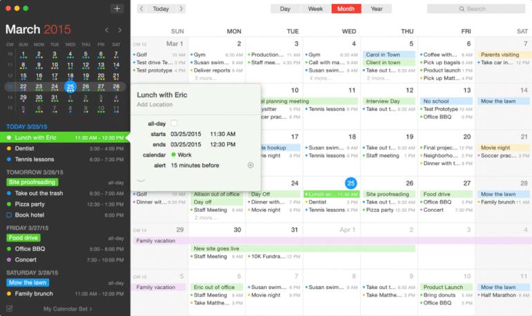 Software de calendario Fantastical 2