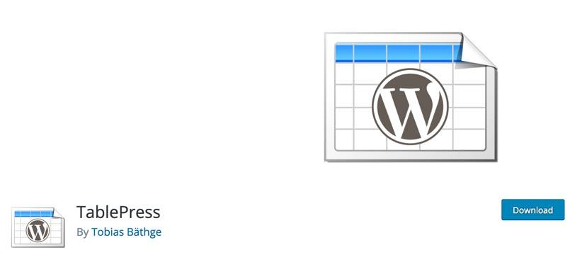 Complemento TablePress para descargar en el directorio oficial de WordPress