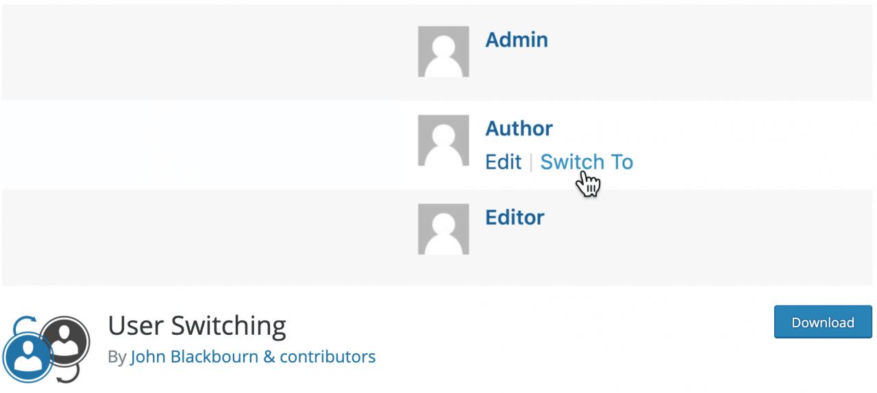 Complemento de cambio de usuario en el repositorio oficial de WordPress