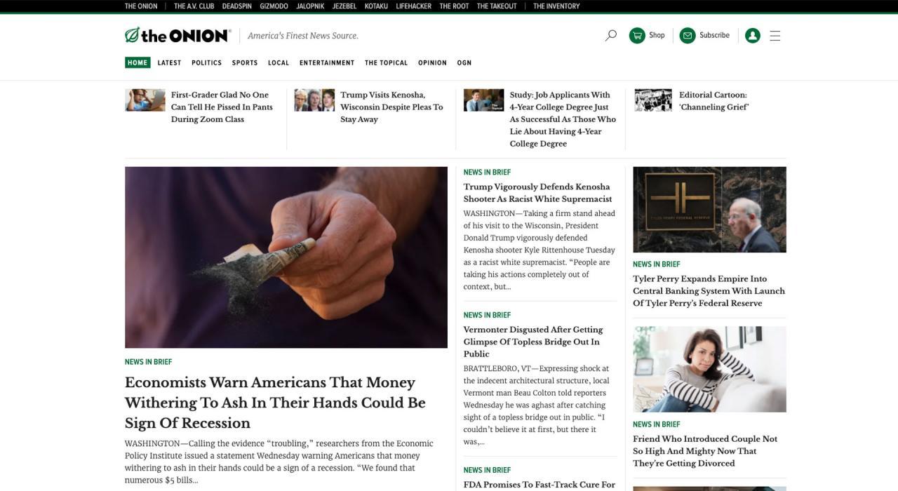 The Onion: sitios de blogs divertidos